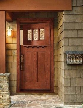 Jeld-Wen 383 Cherry Craftsman Dutch Door Cherry Finish - craftsman - Entry - Tampa - US Door & More Inc