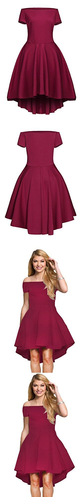 LOSRLY Womens Short Fit and Flare Bridesmaid Dress PRIME Dark Red Burgundy Wine Maroon S 4 6