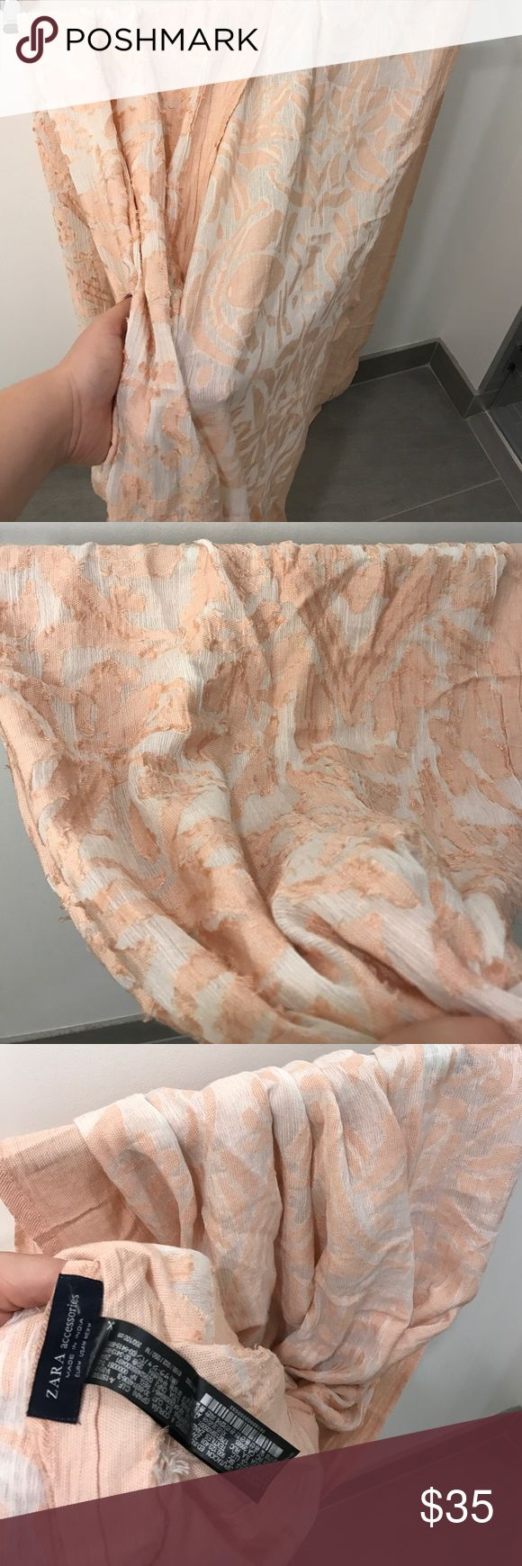 Zara new elegant peach cream scarf spring summer Zara brand new soft peach beige scarf perfect for spring! Really pretty and  is double sided so can be worn different ways. Really pretty and feminine 💕💕💕💕💕  🙅🏻 PLEASE DO NOT ASK LOWEST PRICE 🙅🏻 ------------ Instead ---------------- ✅ USE OFFER BUTTON ✅ --------😐 no low balling please😐-------- 💁🏻 NO DRAMA HERE LETS BE NICE 🤗 🚫🚭 SMOKE FREE - PET FREE HOME 🚫🐾 👉 NO TRADES 👈 Zara Accessories Scarves & Wraps