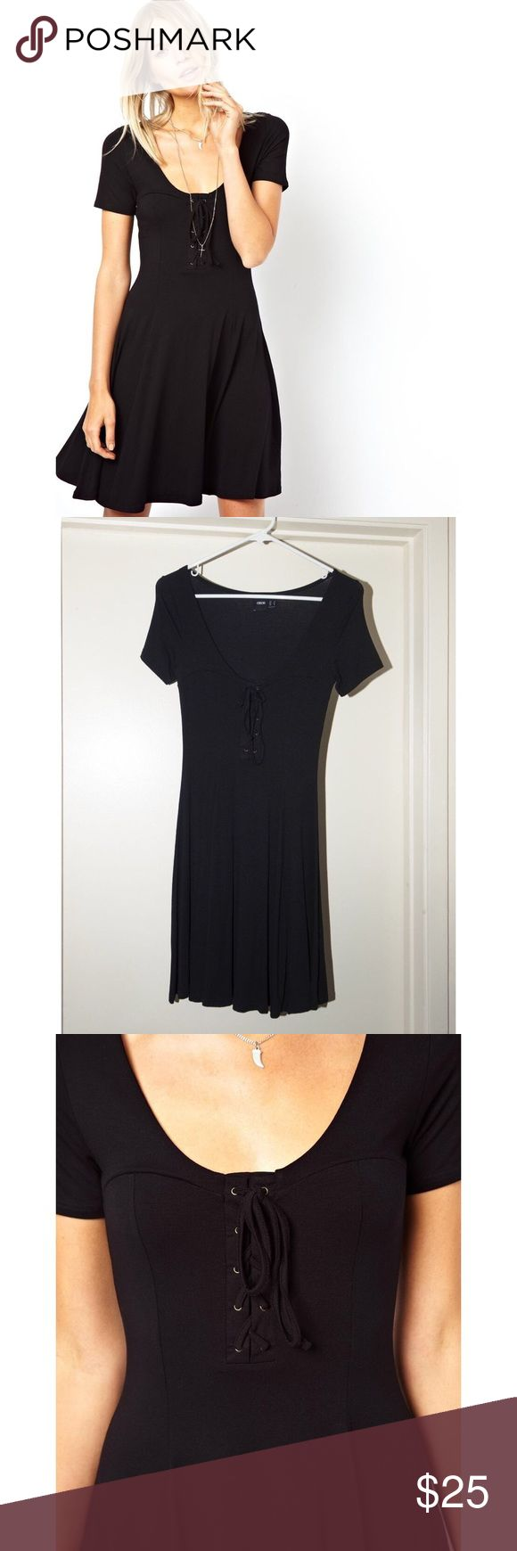 ASOS Black Skater Dress with Lace Up Detail Black lace up skater dress from ASOS, only worn once! Size 2 or XS/S. Super cute + comfy! ASOS Dresses Mini