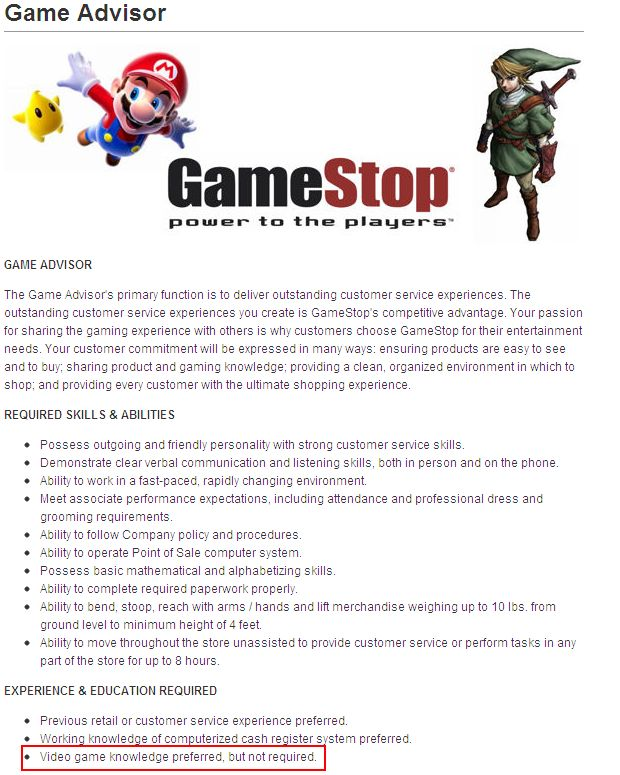 software knowledge gamestop application