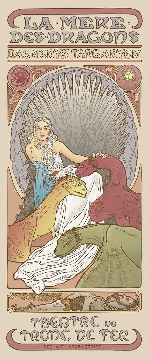 Nesta série de ilustraçoes da artista sueca Elin Jonsson as mulheres de Game of Thrones sao representadas no estilo de Alphonse Mucha, ilustrador e ...