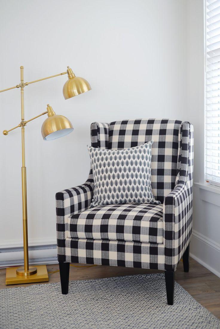 Ramblingrenovators.ca | Buffalo plaid chair, brass lamp, modern farmhouse, cottage style