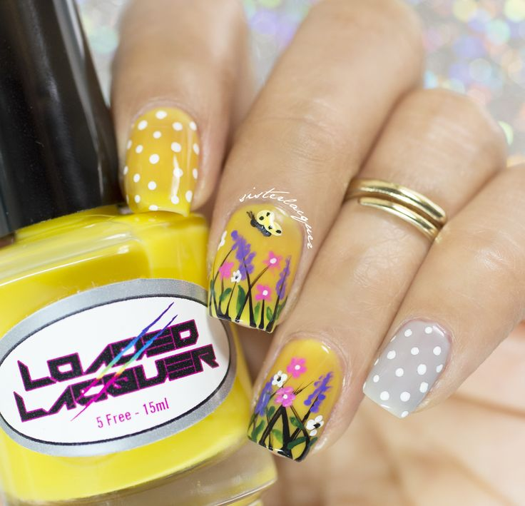Yellow, floral, flowers, spring, nails, mani
