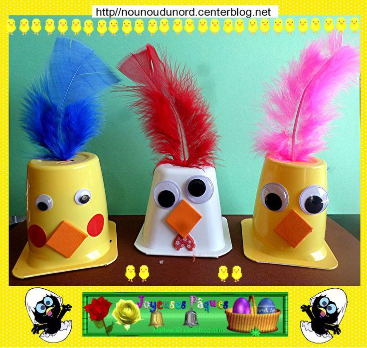 La Poule et ses deux poussins de Pâques réalisés avec des pots de yaourts http://nounoudunord.centerblog.net/4365-poule-et-poussins-de-paques-realise-avec-des-yaourts
