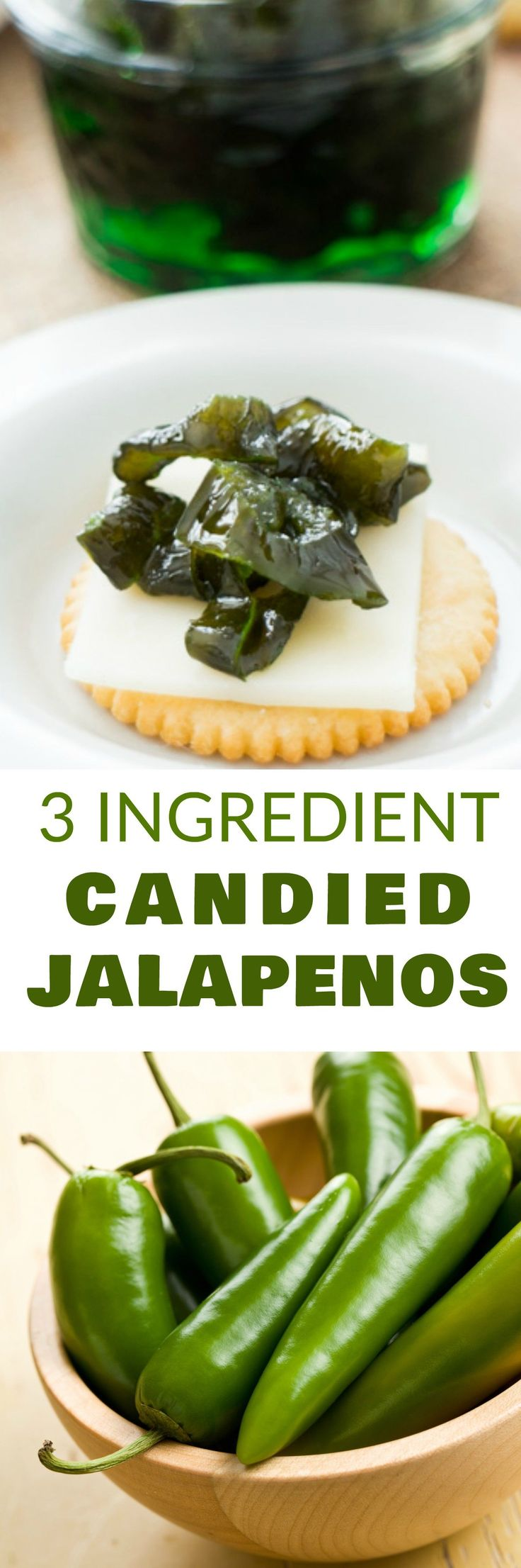 3 INGREDIENT Candied Jalapenos recipe! You only need jalapenos, sugar and water to make this delicious SWEET and SPICY recipe!  Everyone goes CRAZY when I make these with our garden peppers!  Use this as a appetizer dip, on top of crackers or in dinner di