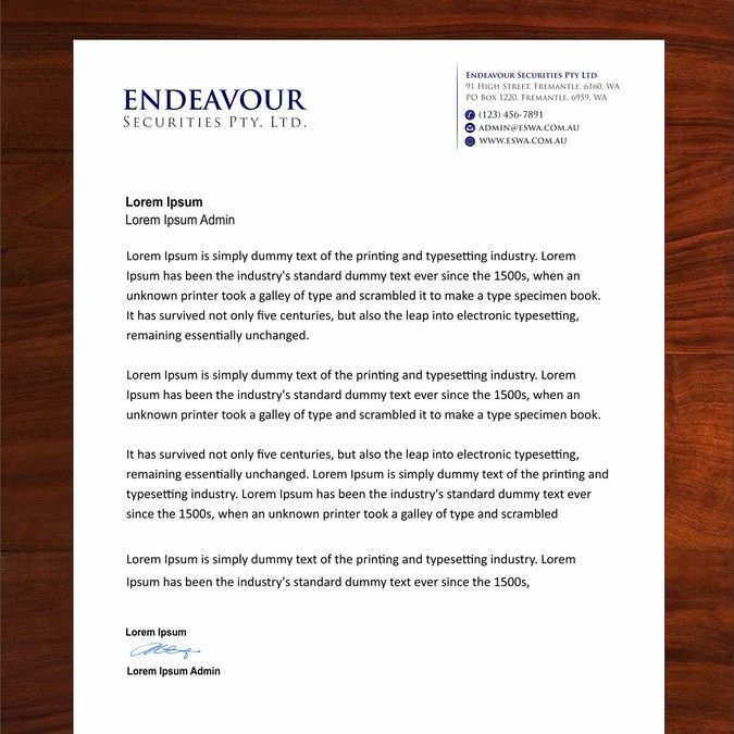 Create a standout professional letterhead for Endeavour Securities by Dipenshah