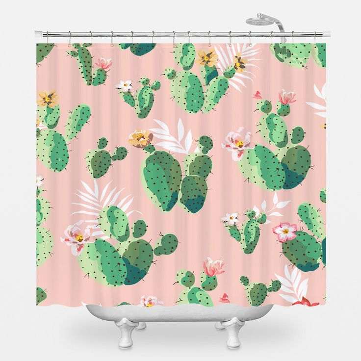 Cacti on Pink Shower Curtain