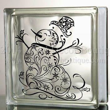 Snowman Filigree Glass Block Decal Tile Mirrors DIY Decal for Christmas Glass Blocks Christmas Snowman Filigree