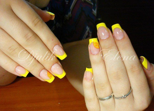 Acid yellow nails, Beautiful nails 2016, Bright french manicure, Citrus nails, Color french manicure, Shellac nails 2016, Summer French nails 2016, Summer nails 2016