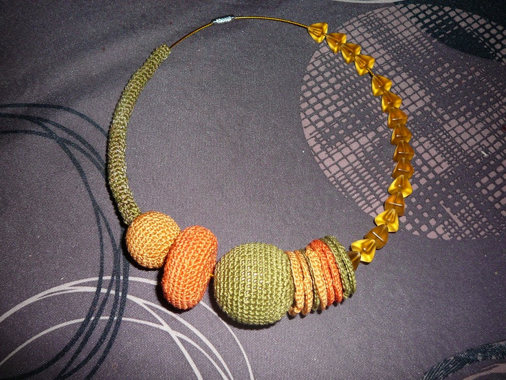 crochet necklace, combined with glass beads