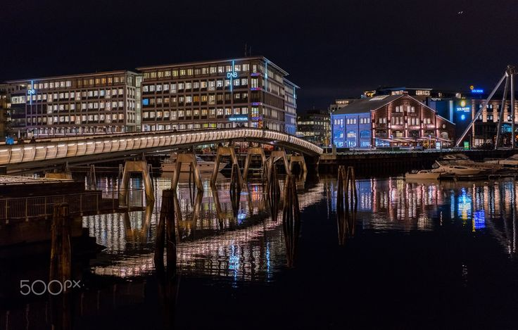 Night in Trondheim and Verfsbrua bridge - Verfsbrua is a beautiful bridge in Trondheim and it is famous for the flowers in its both side as a reason people call it  Blomsterbrua  means flower Bridge in Norwegian.