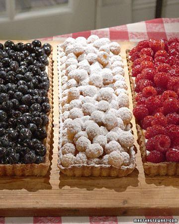 Red, White, and Blue Tarts - Martha Stewart: Madeline Birthday, Birthday Parties, Red White Blue, July 4Th, Food Trays, Berries Tarts, Blue Tarts, Fruit Tarts, Tarts Recipes
