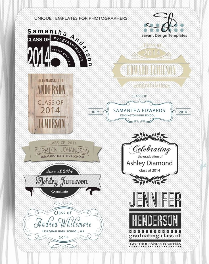 Photoshop Graduation Overlays for Senior Templates