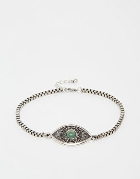 ASOS Anklet With Eye Pendant In Silver