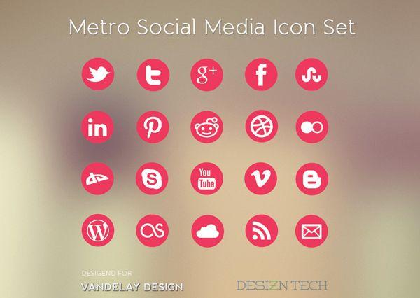 Free Download: Metro Social Media Icon Set