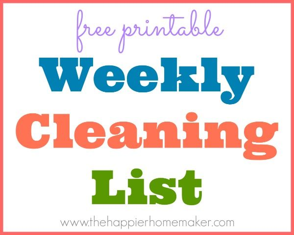 Daily Cleaning Schedule- free printable! You can use her list or print one to customize yourself!