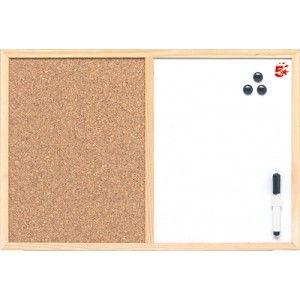 Pizarra blanca combinada con tablero de corcho con marco de madera económico.  Medidas: 60 x 90 cm.