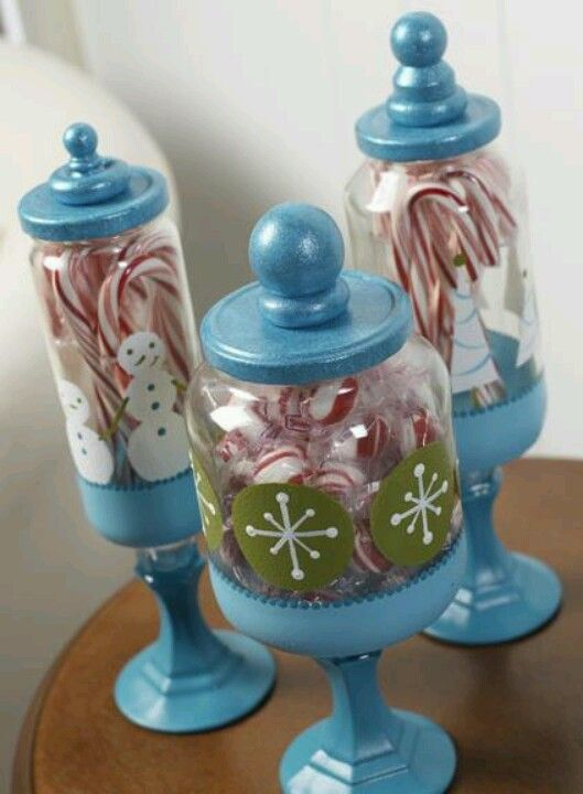 DIY candy jars... Use recycled jars and glue on painted candlestick and knob