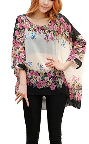 iNewbetter Womens Floral Batwing Sleeve Loose Blouse Tunic Tops