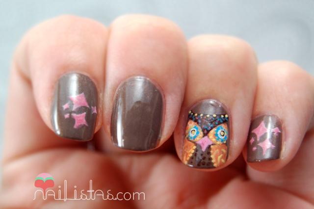 Owl Owl Owl // uñas decoradas con diseño de búhos // Picnic Bar // Owl nail art