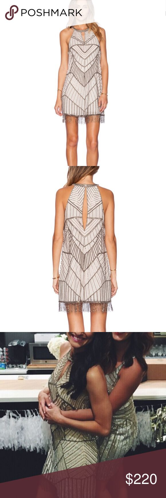 PARKER beaded fringe mini dress PARKER beaded fringe mini // worn once for a Gatsby themed bridal shower // so many compliments!! // this dress is stunning and in perfect condition on the outside. There is a small stain on the inside of the neckline from spray tan but has been dry cleaned and you can't see it while wearing it! Parker Dresses Mini