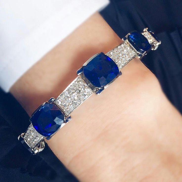 Cartier @jeanmjkim_ This bracelet has it all. It's Cartier and set with a series of Kashmir sapphires. #christies #christiesjewels #diamondbracelet #kashmir #sapphire #cartierbracelet