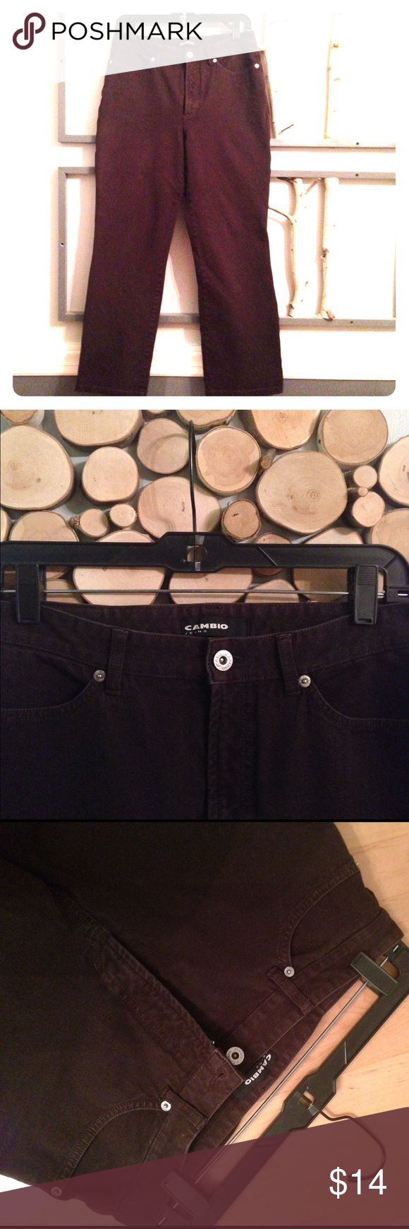 """Cambio Stretch Jeans These attractive dark brown jeans are form flatteringly stretchy and comfortable at 95cotton/5spandex.  Waist 15"""", Inseam 27.5"""". VGUC Cambio Jeans Straight Leg"""