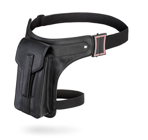 This Marvel Black Widow Holster Bag. It holds everything we need - our phones, our keys, our shock stick batons - and makes sure all your super gear will be at your fingertips when you need it.