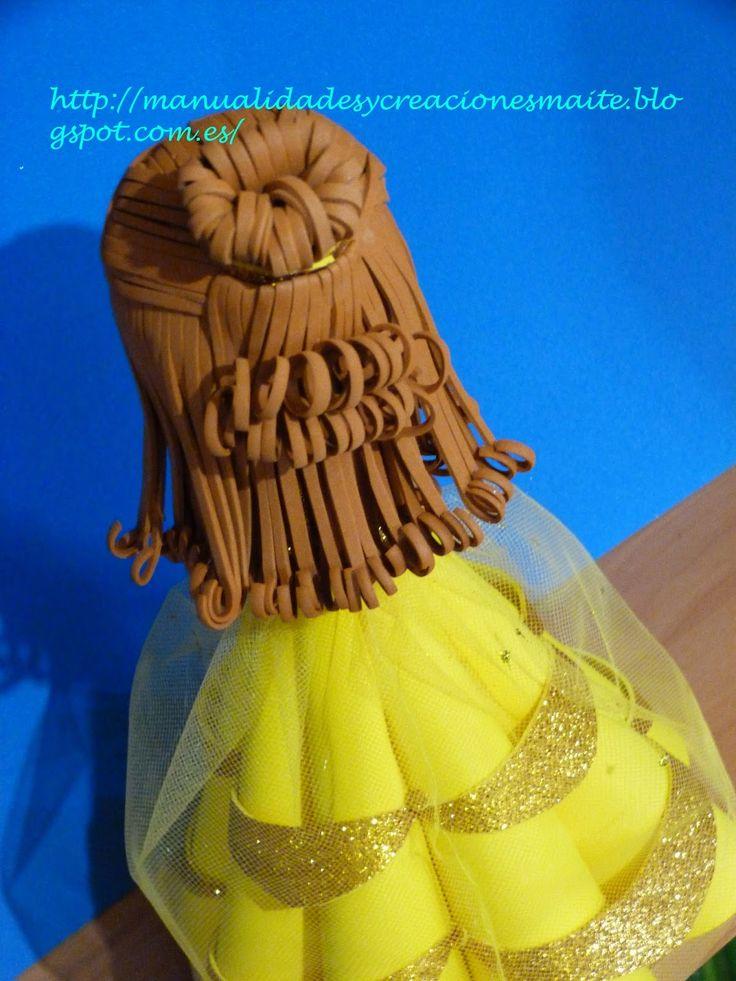 """Fofucha PRINCESA BELLA, de la película de Disney """"La Bella y la Bestia""""  Es una precios muñeca , hecha de forma artesana en goma eva.  Un r..."""
