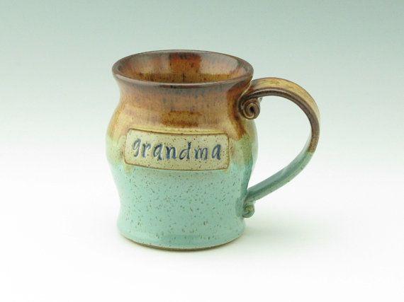 GRANDMA Mug - Ocean Chic Stoneware 16 oz Coffee Mug - Honey Brown & Sea Mist Pot Belly Style Pottery Beer Mug - Mother's Day Gift