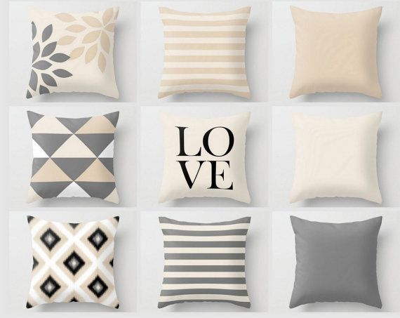 Neutral Throw Pillow Covers Geometric Home Decor Grey Black White Beige Love Pillow Throw Pillow Covers Decorative Covers