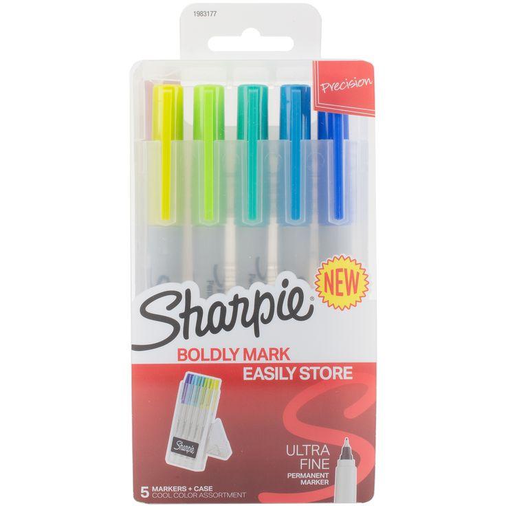 Sanford Sharpie Permanent Markers W/Hardcase 5/Pkg-Ultra Fine Point, - ultra fine point, cool colors, Ultra Fine Point/Cool Colors ultra fine point/ cool colors
