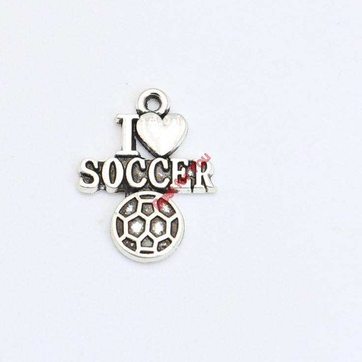 Античная посеребренная я люблю футбол кулон браслет ожерелье ювелирных изделий поделки ручной работы 22 x 17 мм