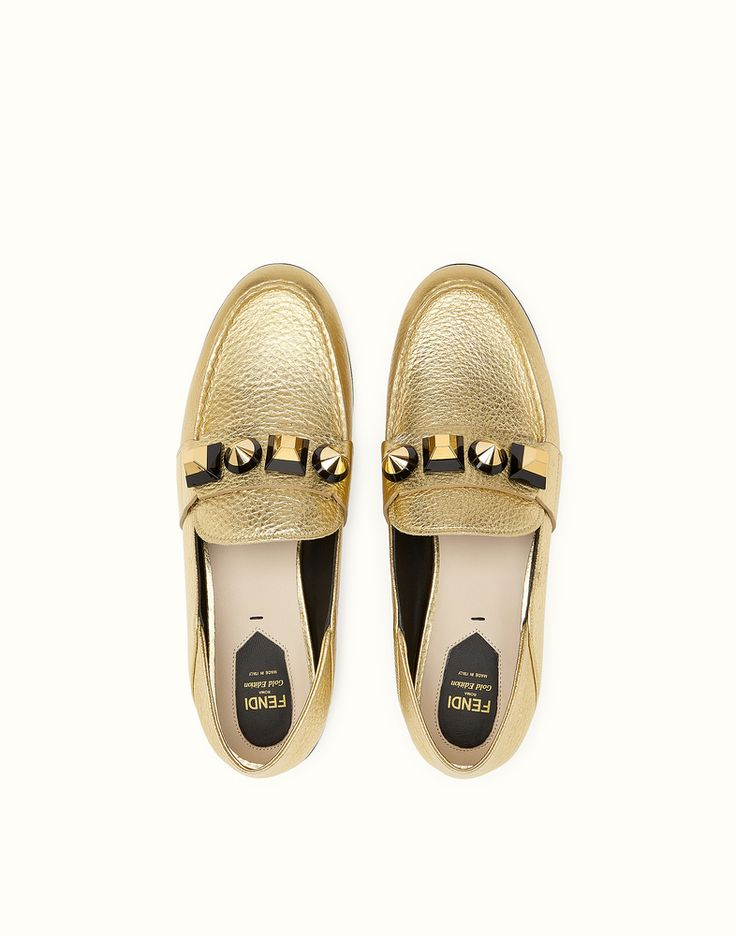 FENDI LOAFERS - slipper style in gold-coloured leather