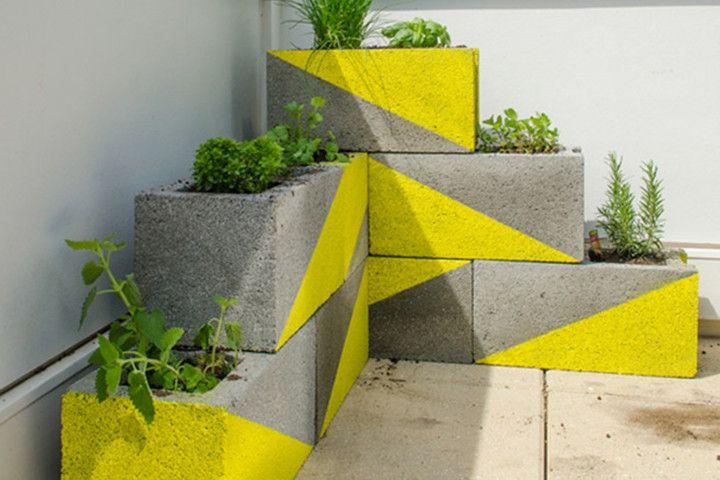 20 ideias de decoração e jardins com blocos de concreto