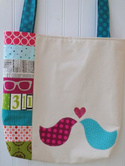 Love Bird Tote - I like the patchwork on the side check out the site tons of bags all so cute