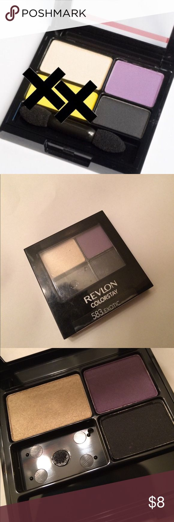 De-Potted Revlon Eyeshadow Palette Revlon Colorstay 16 Hour Eyeshadow palette 583 EXOTIC. Includes shades 1, 2, 4. They are totally brand new, never touched or swatched. Bought this for the yellow shade and de-potted it. This is a great add on item for bundles!  #'s shade blend crease highlight quad trio pigment purple black cream shimmer matte primer recommended revlon love is on color stay de-pot de-potting all day wear no smudge Revlon Makeup Eyeshadow