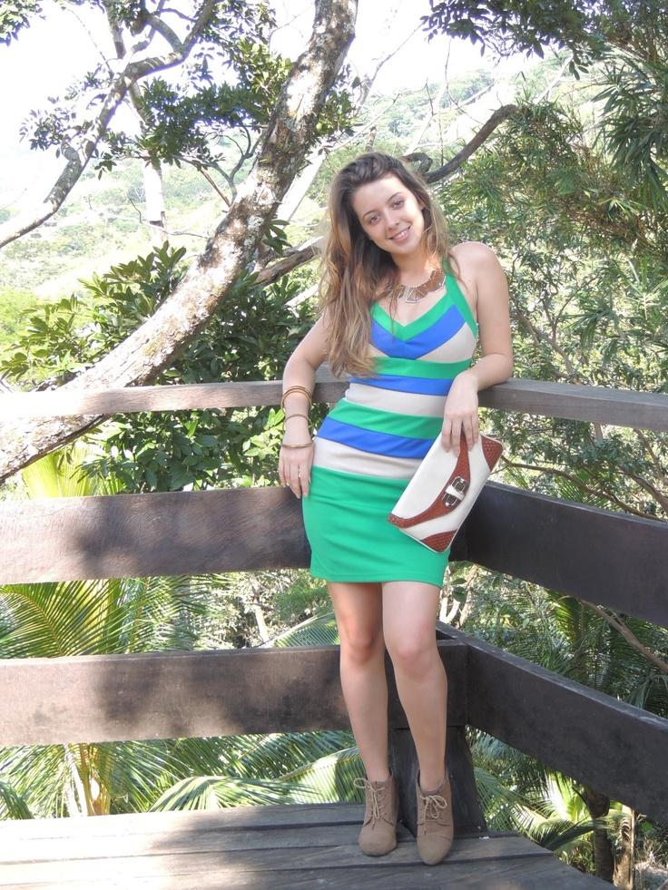 Colorblock vestido