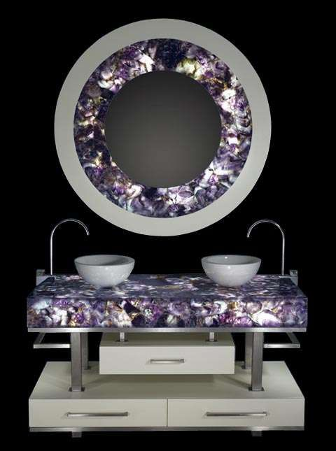 Blinged-Out Home Decor. Gemstone bathroom sink and mirror fixture.