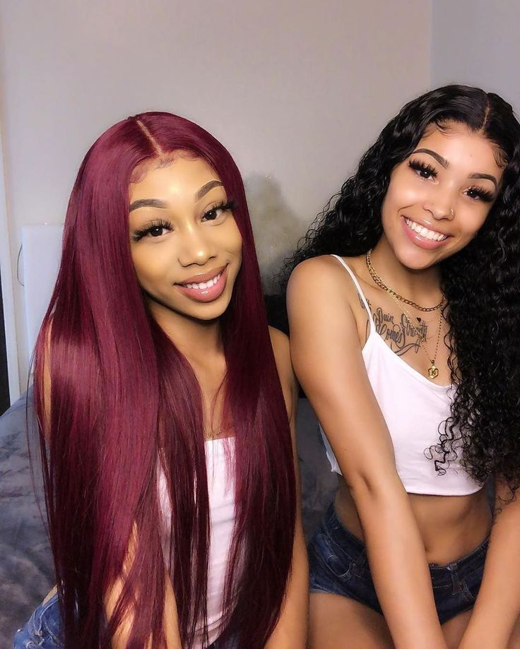 Burgundy Human Hair Lace Front Wigs