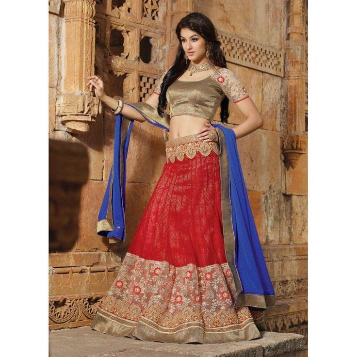 Net Red Lehenga Choli Dress Material - 67645