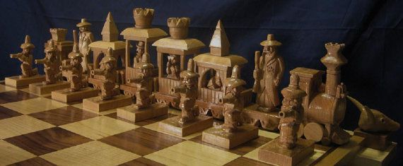 Great Train Robbery Chess Set etsy  by JimArnoldsChessSets on Etsy, $3500.00  This is amazing!