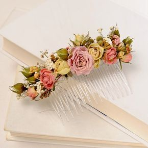 Rustic Country Dried Flower Comb Bohemian Floral by VelvetTeacup