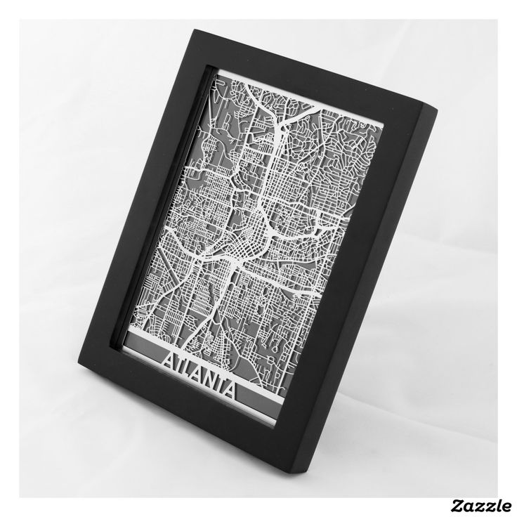 "5"" X 7"" Stainless Steel Cut Atlanta City Map"
