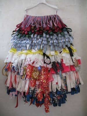Disrupting surface and structure by stitching layers and lengths of ribbon onto a skirt.   Textile designer Alison Willoughby who worked on one of our Year 8 schemes of work. http://www.alisonwilloughby.com/