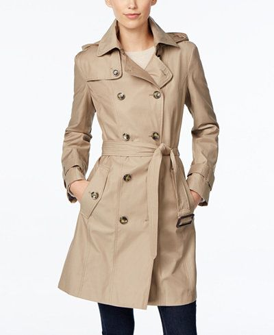 London Fog Hooded All-Weather Double-Breasted Trench Coat