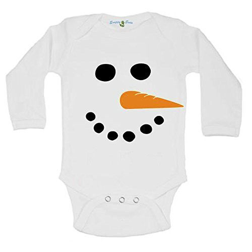 Snappy Suits Cute Long Sleeve Snowman Face Winter Baby Onesie One Piece Suit Romper (3-6 Months)