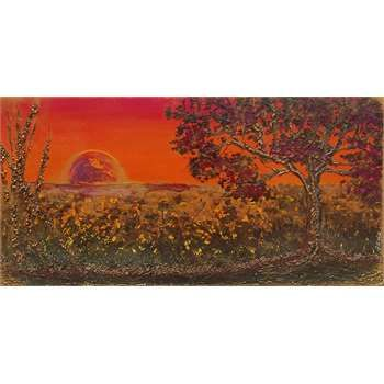 Tecnica mista su tela a cassetto. Colori caldi armoniosamente sfumati e parti in rilievo per l'albero e il paesaggio di campagna. Il sole è spatolato e assume carattere ipnotico su tutta la tela. Graniglie e pietre naturali decorano rami e terra.