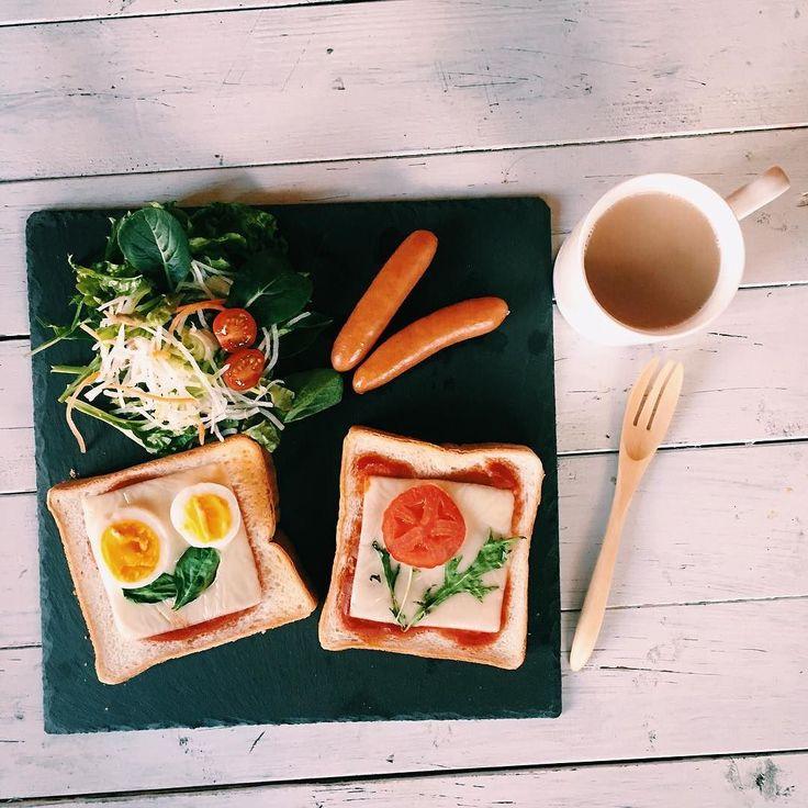 今日の朝ごはん  #お花トースト  #パパめし朝ごはん